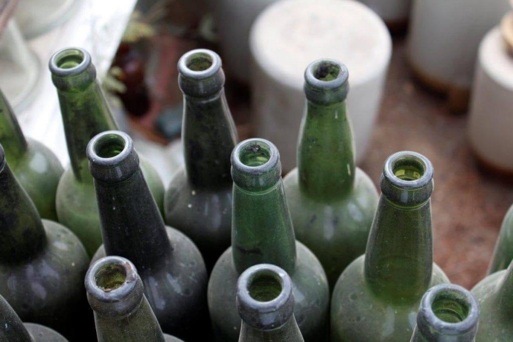 Empty bottles of wine