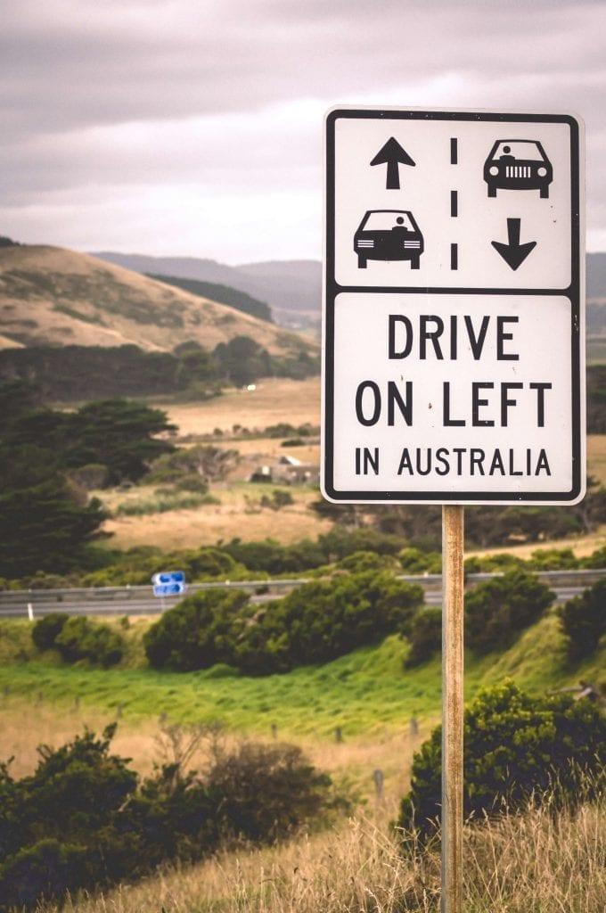Australians Drive on Left Sign