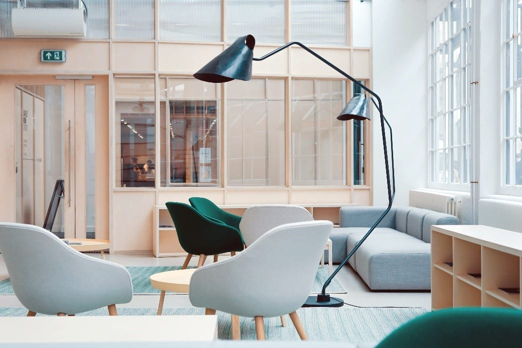 Open working space in an office