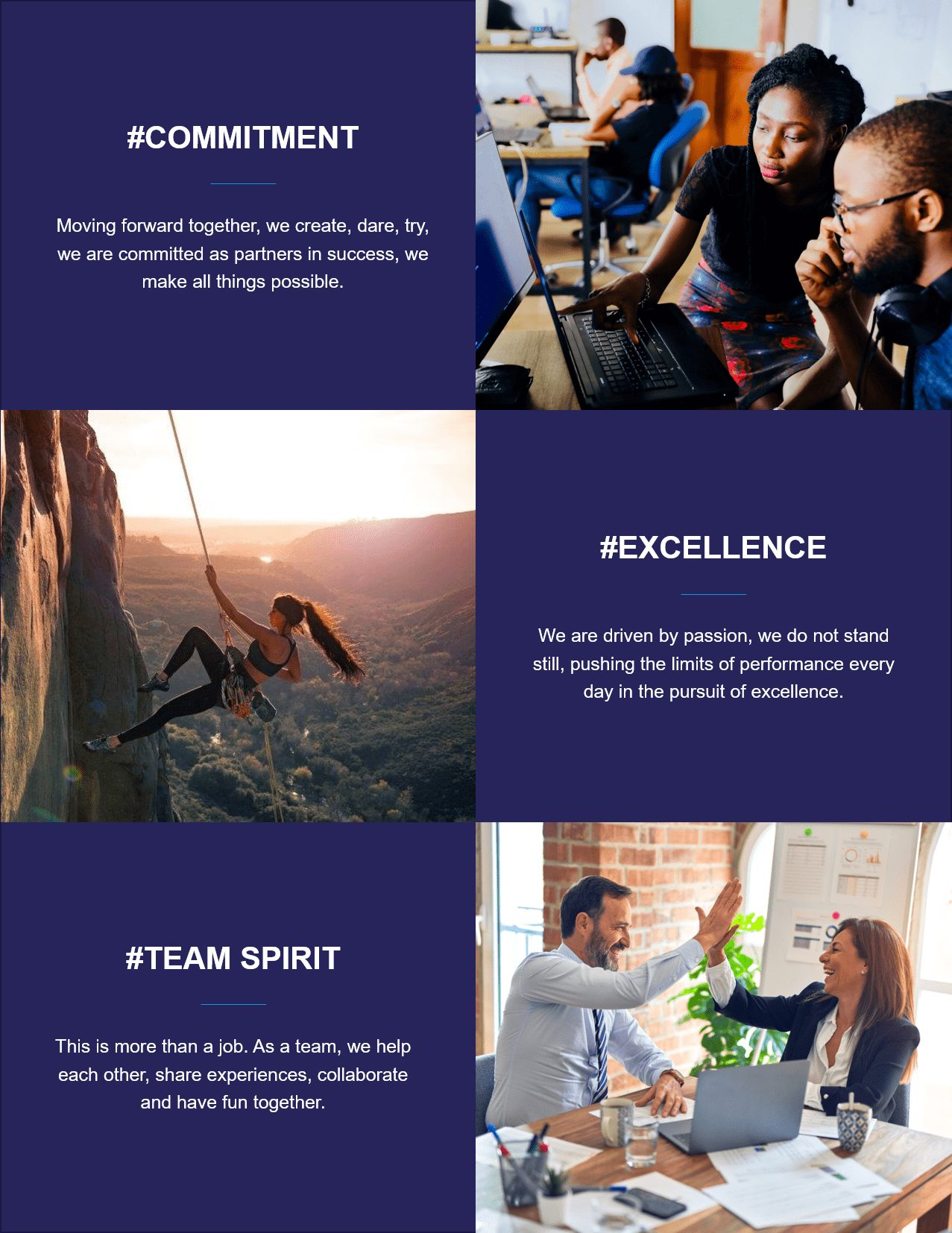 MP Core Values Commitment - Excellence - Team Spirit