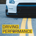 Driving Performance Text on image of car on road