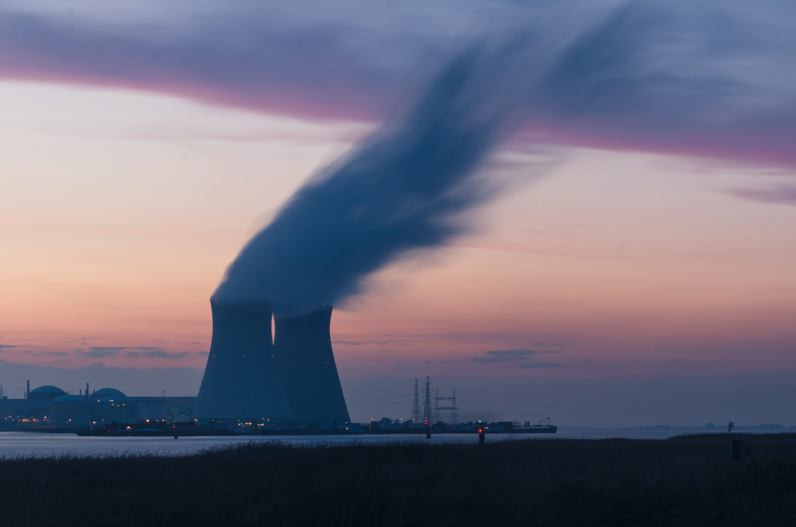Nuclear plant sunset