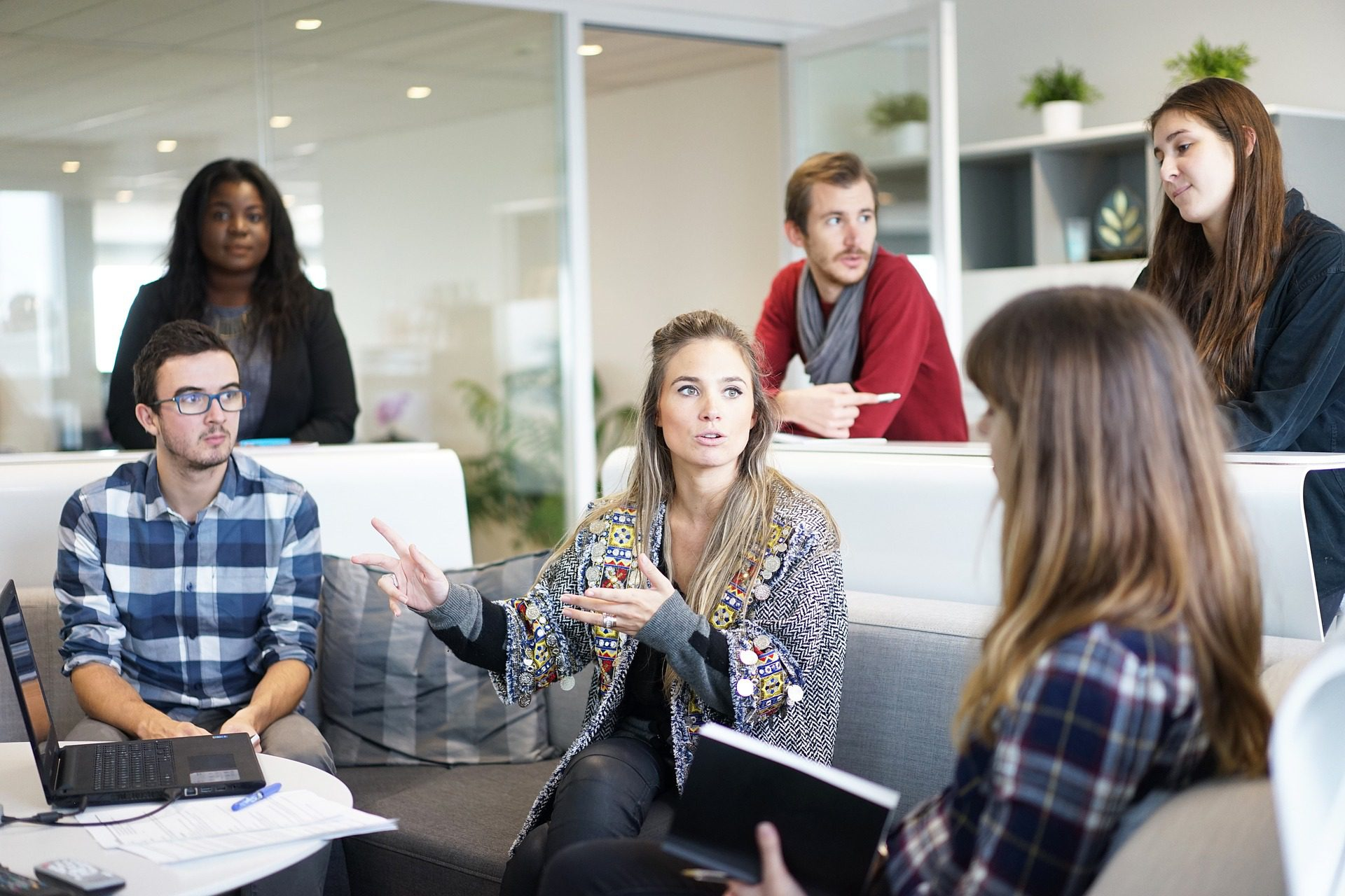 group of 6 people in a meeting